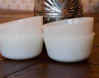 Vintage Anchor Hocking Fire King Milk Glass Bowls (Set of 4)