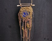 tricolor lapiz lazuli armor, crochet necklace, 14k goldfilled, rose goldfilled, oxidized silver necklace, ooak