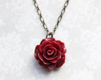 Deep Red Rose Necklace Vintage Inspired Dark Red Floral Jewellery Bridesmaids Gift Flower Pendant Gothic Romantic Country Chic Red Wedding