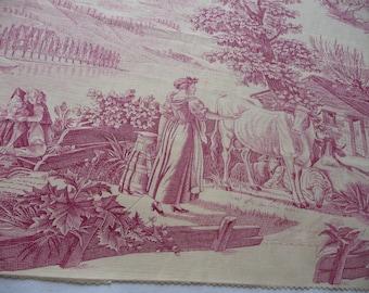 Antique  french toile de jouy French  textile  fabulous colour