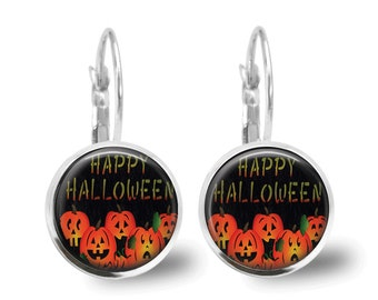 Halloween Jewelry Halloween Earrings Pumpkin Earrings Pumpkin Jewelry Brass Jewelry Holiday Jewelry Beaded Jewelry Silver Jewelry