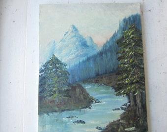 Vintage Oil Painting - River Mountain Sunrise Landscape