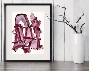 Abstract Painting Print, Pink Mauve Maroon Abstract Art, Original Abstract Painting, Contemporary Fine Art GICLEE print