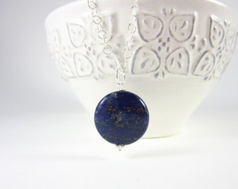 Lapis Necklace Charm - Navy Blue Lapis Lazuli Pendant - Lapis Lazuli Jewelry - Sterling Silver Charms - Dark Blue Circle Jewelry