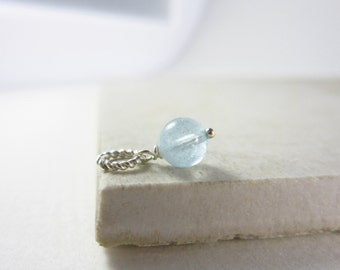 S - Blue Aquamarine Jewelry - March Birthstone Jewelry - Aquamarine Pendant - Sterling Silver Charms - Light Blue Gemstone Pendant
