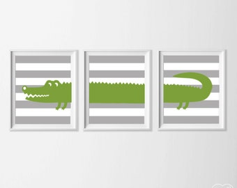 Alligator Nursery Art, Safari Alligator Nursery Wall Art, Green Grey Alligator Set of 3, Safari Kids Decor Alligator, Zoo Nursery Art