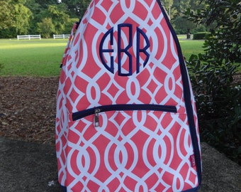 Personalized  CORAL Tennis Bag Coral and Navy  Tennis Backpack
