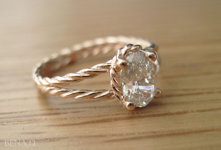 twisted rope engagement ring oval engagement