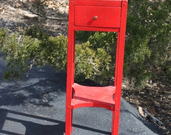 Vintage Red Painted Wood Wooden 2 Tiered Smoking Table Pull Out Drawer Accent Pedestal Side Table Rustic Distressed Farmhouse French Country