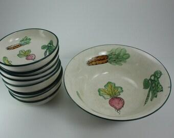 Vintage Salad Soup Bowl Set Ceramic Vegetable Pattern San Francisco Made In Japan Mid Century Modern Farmhouse Decor 9 Pieces
