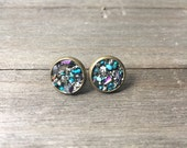 Power Medallion Earrings | Turquoise | Pyrite | Aura Quartz | Mixed Gemstone