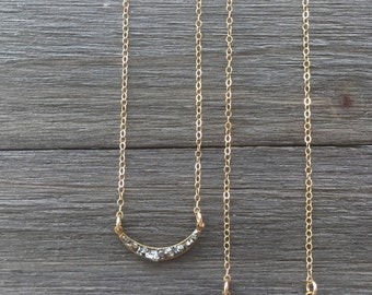 Dainty Pyrite Crescent Necklace | Pyrite Necklace | Cresent Necklace