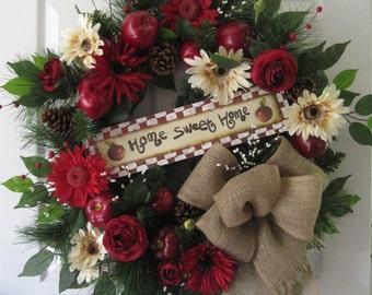 Home Sweet Home, 30 Inch Round Wreath, Country Apple Farm Wreath, Fall Wreath, Extra Large Wreath, All Season Wreath, Front Door Wreath
