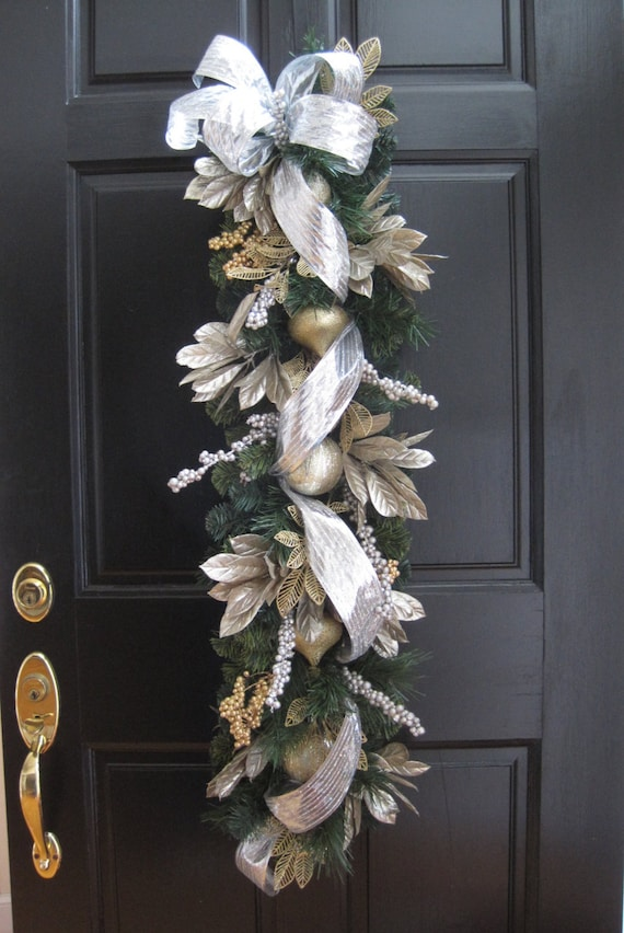 CUSTOM ORDER For Robert- Set of Two Christmas Door Swags, Silver & Gold 43 Inch Long Vertical Swags With Gold Leaf Ornaments