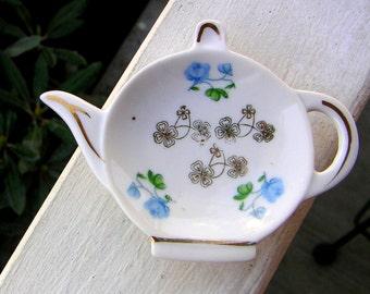 Vintage Tea Bag Holder Tea Pot Shaped With Flowers