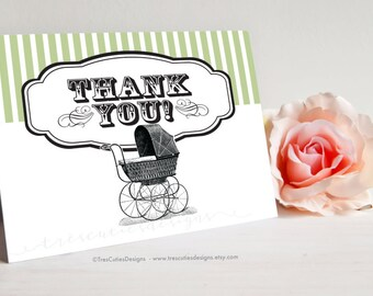 Baby Shower Thank You Cards - Green - Folded Cards - Printables - Instant Download