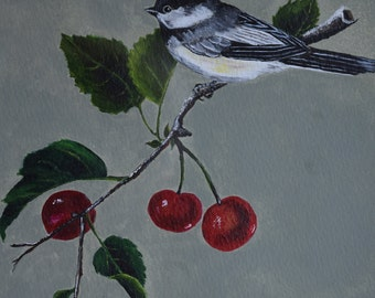 Black Capped Chickadee - bird painting, nature, wildlife, feather, cherry tree, cherries, black, white, red, green, spring, leaves