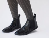 Chelsea boots - Black Patent - Handmade zero drop Leather Boots - CUSTOM FIT
