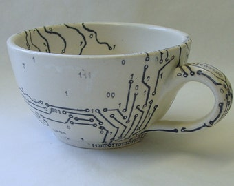 Circuit Board and Map Soup Mug
