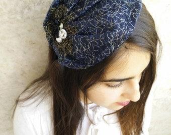 vintage veil ribbon tiara ,studded bow by oshratdesignz