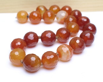Genuine Hand Knotted Faceted Carnelian Ball Necklace