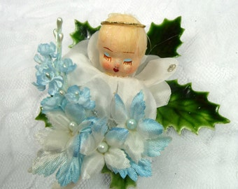 Christmas Corsage Vintage Blue Angel Pin Tree Decoration Silk Millinery Holly Leaf Brooch