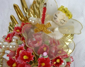 Vintage Angel Christmas Corsage Spun Cotton Gold Red Forget Me Nots Mica Sugar Bells Retro Decoration