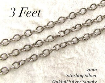 Oxidized Sterling Silver Cable Chain -  Rustic Textured Necklace Footage Chain 3 Ft  CH1