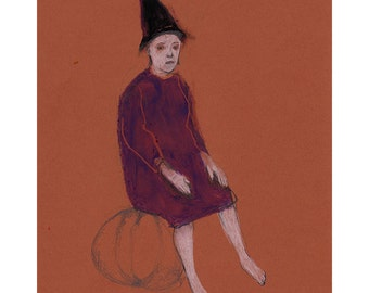 art Witch woman drawing figurative original illustration people sitting