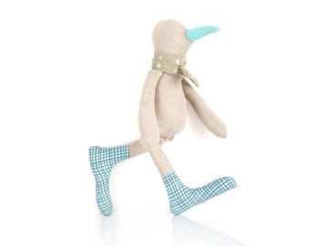 Plushie Softie doll , SMALL bird , rag doll , linen plush , eco chick , duck doll , fabric doll, baby goose , Newborn Doll , Modern Nursery