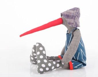 Bird Stuffed Animal - Soft Sculpture - Creature Gray doll with Very long red beak ,Chevron navy dress,hat and polka-dot socks, ooak rag doll