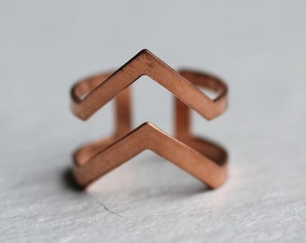 Geometric Mountain Ring ... Vintage Midi Stacking Ring Copper Adjustable