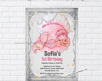 Mermaid birthday invitation, Pool party, for any age, retro mermaid under the sea, 1st 2nd 3rd 4th 5th 6th 8th 9th 10th little girl - 839