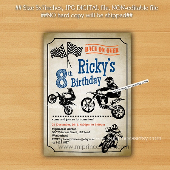 Dirt bike invitation Motocross Birthday Invitation for any – Motocross Birthday Cards
