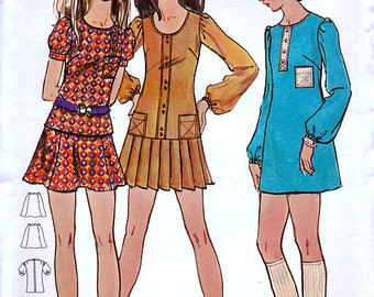 Butterick 5867 Vintage 70s Sewing Pattern for Misses' One or Two-Piece Dress - Uncut - Size 8 - Bust 31.5