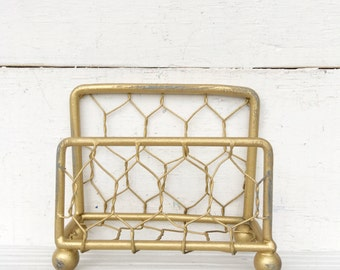 Business Card Holder Antique Gold Chicken Wire, Shimmering Metallic Gold, Card Holder Craft Room-Cottage Chic-Rustic Chicken Wire-Booth