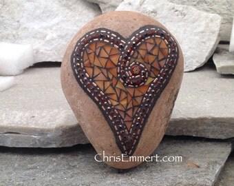 Orange Mosaic Rock, Gardener Gift, Home Decor, Mosaic Garden Stone