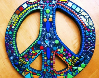 "CUSTOM PEACE Sign - 16"" Round - Hippie / Bohemian Artwork - Glass Gems, Stones, Beads, Ceramic, Glitter Tile, Silver Embellishments - OOAK"