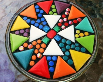 """MOSAIC CANDLEHOLDER / TRIVET - 6"""" Round Glass Base - Bright, Colorful Ceramic Triangle Shaped Tiles / Ready-to-Ship -  / Unique / Ooak"""