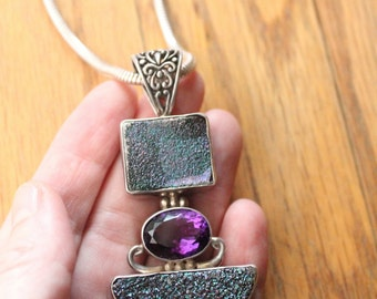 Vintage 90's Chalcedony Druzy in Cassiopeia Seas, Amethyst and Sterling Modernist Pendant and Rope Necklace