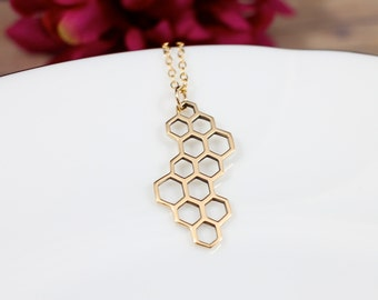 Honeycomb Necklace, Honeycomb Jewelry, Gold Honeycomb, Bee Keeper Necklace, Bee Keeper Gift, Geometric Necklace, Octagon Necklace
