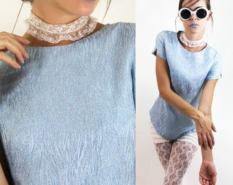 Mod Top 60s SPACE AGE BROCADE Shimmer Powder Blue BLouse // Vintage Mod by TatiTati Style on Etsy