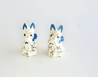 Vintage White Dog Salt and Pepper Shakers Chalkware Mission Inn 1960s Kitsch Japan Mid Century Collectible
