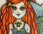 CHLOE, MERMAID, Girl, ACEO, Red Hair, Mermaid Art, Fantasy Art, mixed media art, mixed media print, mixed media, artist, Alicia J Hayes