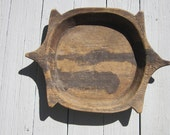 Large Turtle Shaped Bowl - Rustic Antique Wood Dough Bowl - Hand Crafted Weathered Wooden Primitive