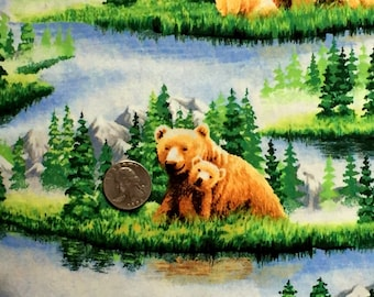 FABRIC-Bears-100% Cotton-Sold by YARD-Family of Bears in beautiful scenery-grass trees water mountains-cotton fabric