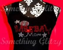 Baseball Mom Rhinestone Tank Top, Baseball Mom Bling, Baseball Mom Shirt, Baseball Mom Tank, Baseball Mom Bling Tee, Baseball Mom Bling Tank