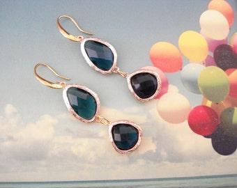 Blue sapphire earrings, Douple crystal blue stone earrings, Sapphire dangles, Mother's day gift, Bridesmaid gift, For bride, Ocean inspired.