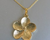 Plumeria Gold Flower and Crysstal Necklace