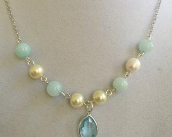 Aquamarine, Jade and Pearl Necklace